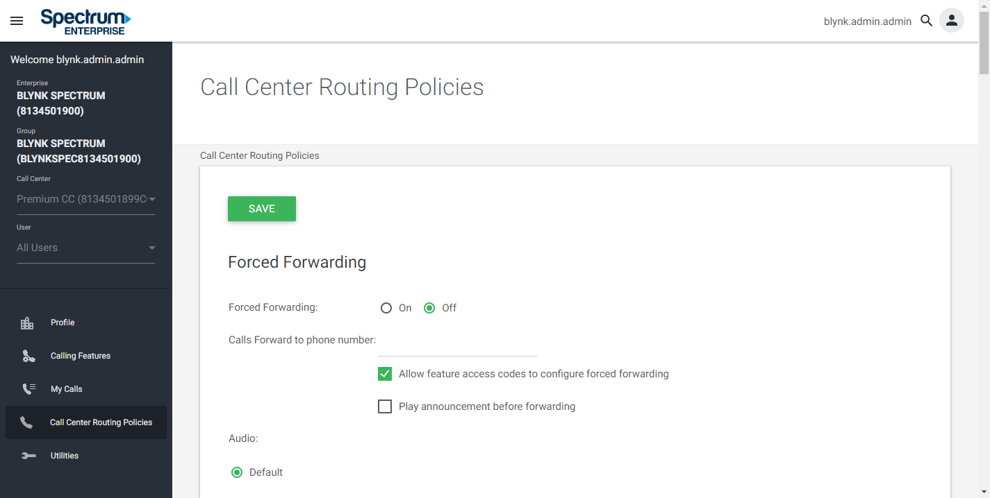 Screenshot of the Call Center Routing Policies window in UCEP.