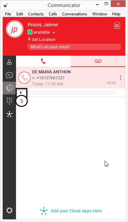 Retrieving voicemail using the uc desktopmobile clients verizon vce click the play icon to listen to the voicemail message m4hsunfo
