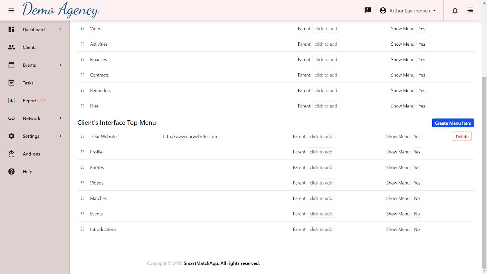 Setting up client permissions screenshot