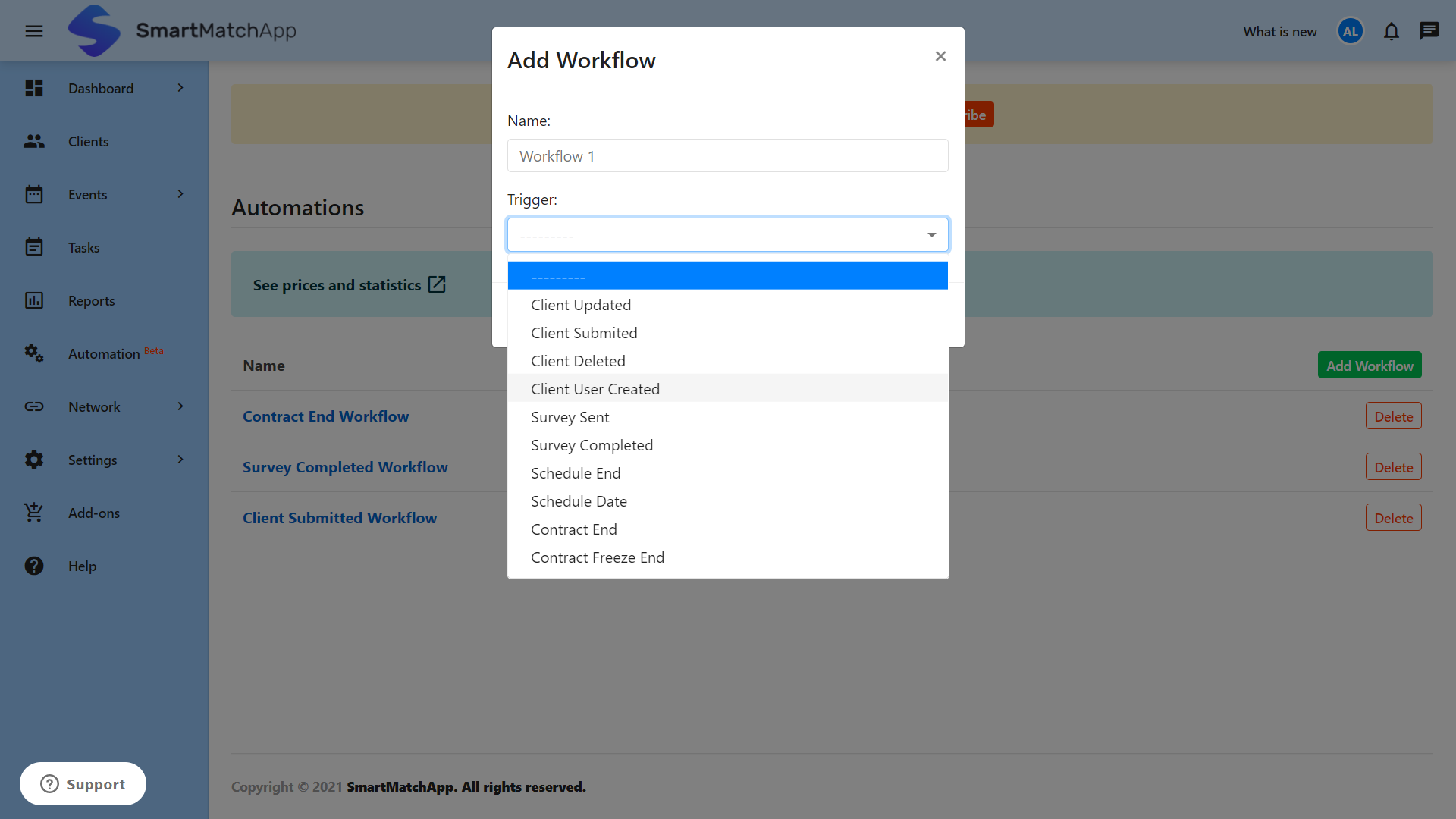 Adding a workflow to your smart automation screenshot