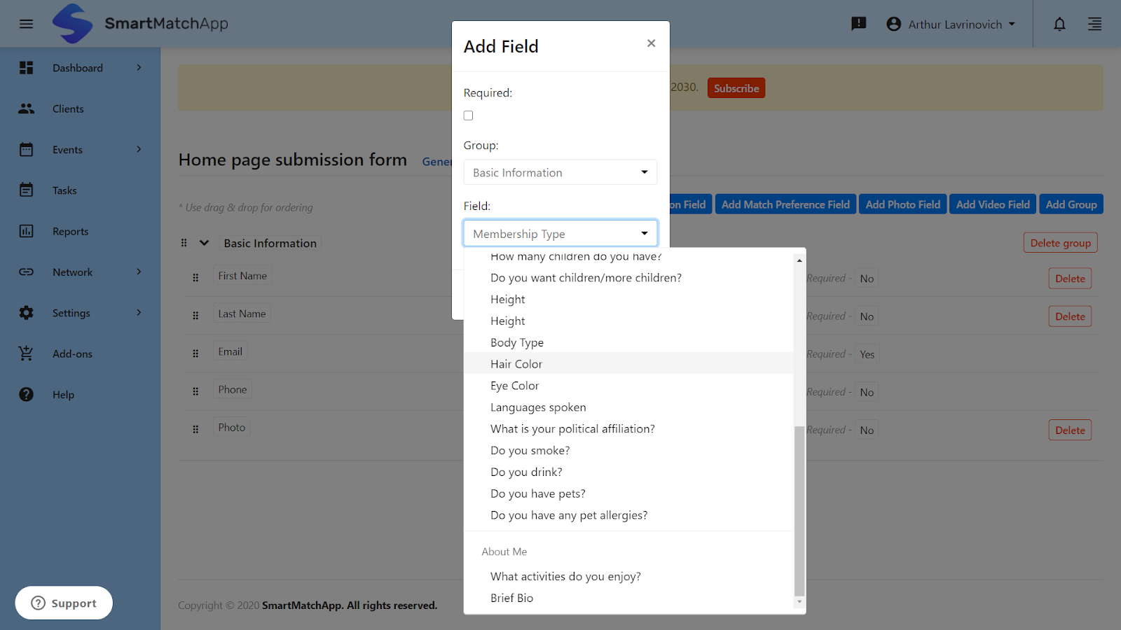 Create your own web form interface with custom fields and make particular fields required for your clients to submit