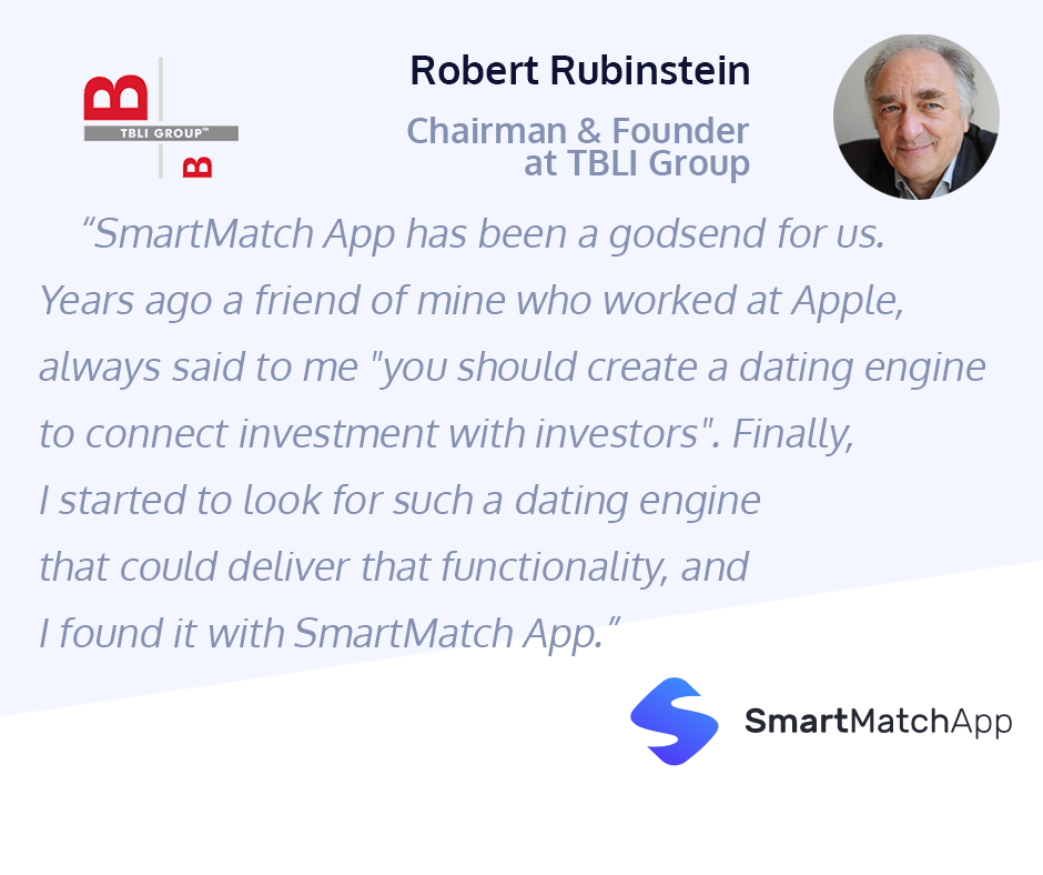 An amazing testimonial from Robert Rubinstein, Chairman & Founder at TBLI Group, about their experience with Smart Match App matchmaking software CRM.