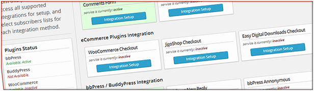 Integration tab to control all integrations