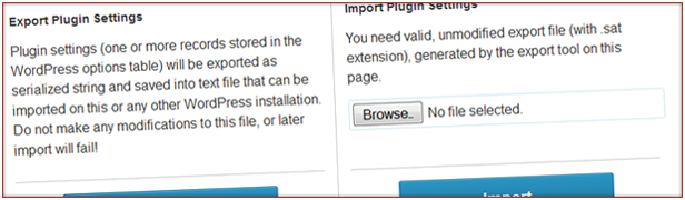 Export and Import tools to quickly transfer plugin settings
