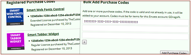 Users can review registered codes and bulk add new codes