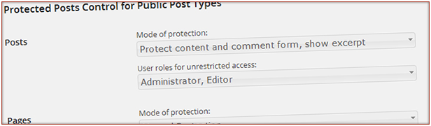 Control protection for individual post types (default and custom)