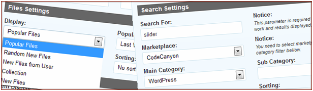 Get items based on search query and other criteria