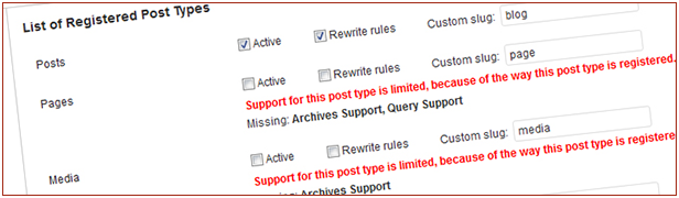 Support for default and custom post types
