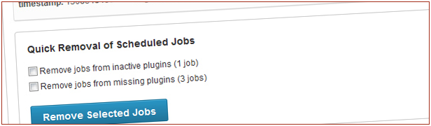 Quick Removal Scheduled Jobs Remove jobs from inactive plugiris joo Remove jobs from missing plugins Remove Selected