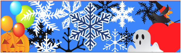 Snowflakes, balloons, Halloween or Christmas related images