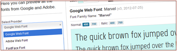 Google Web Font Marvel Font Family Marvel IGooceeWebFont Web Font Normal 100 lIahC 400 700 fox jumped Adobe Web Font fox iumned over the