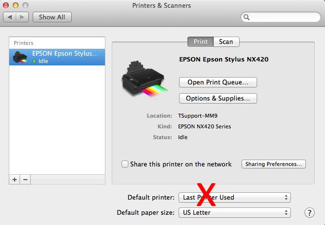 How do I set up my default printer to print coupons on Mac?