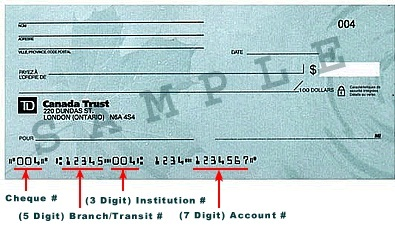 td bank routing number on cheque
