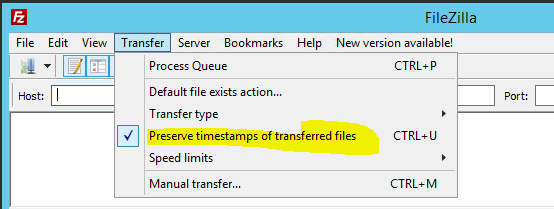 Filezilla FTP Preserve Date and Time - Abacus Private Cloud