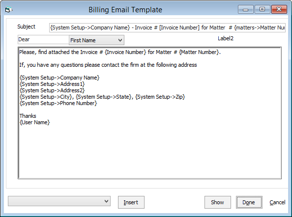 How To Edit The Billing Email Template Abacuslaw Knowledge Base