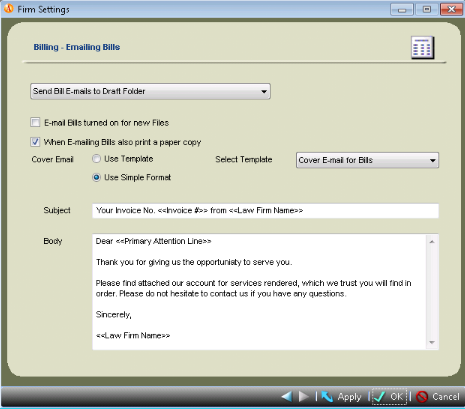 how to set up email billing amicus attorney knowledge base