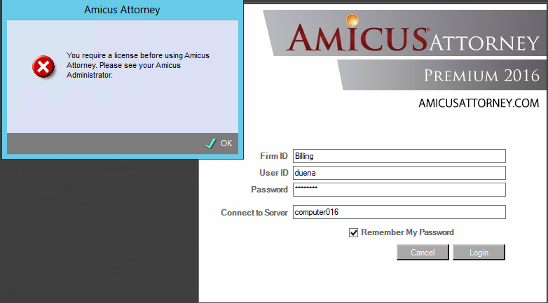Unable to login to Amicus Attorney Premium Edition-You do not have a