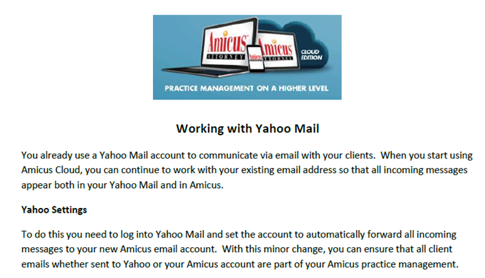 Forwarding a Yahoo Account to Amicus Cloud - Amicus Attorney