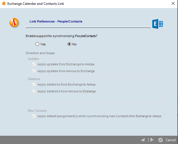 Resetting the Outlook\Exchange contacts and calendar link