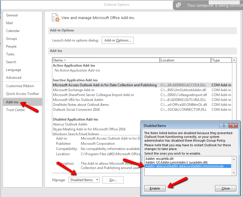 Cannot Link Emails, or Abacus Outlook Add-in is Missing