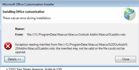 Error Installing Office Customization (Exception Reading