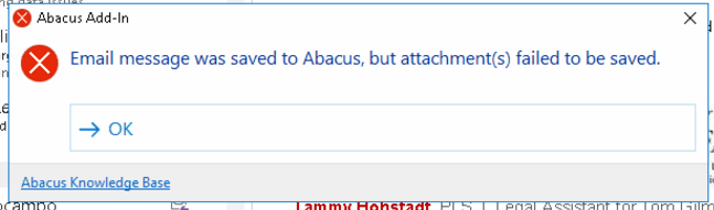 Attachments from Linked Emails Do Not Save to Names or