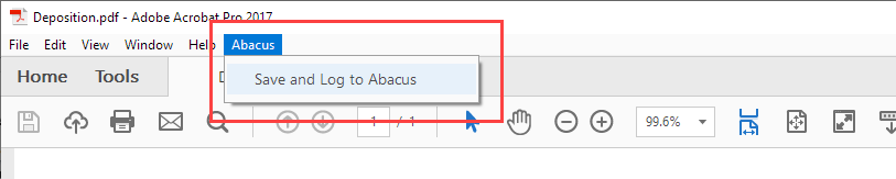 Adding Documents Using the Save and Log to Abacus Adobe