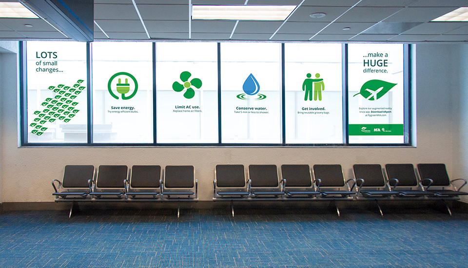 flyGreenMIA airport employee lounge signage