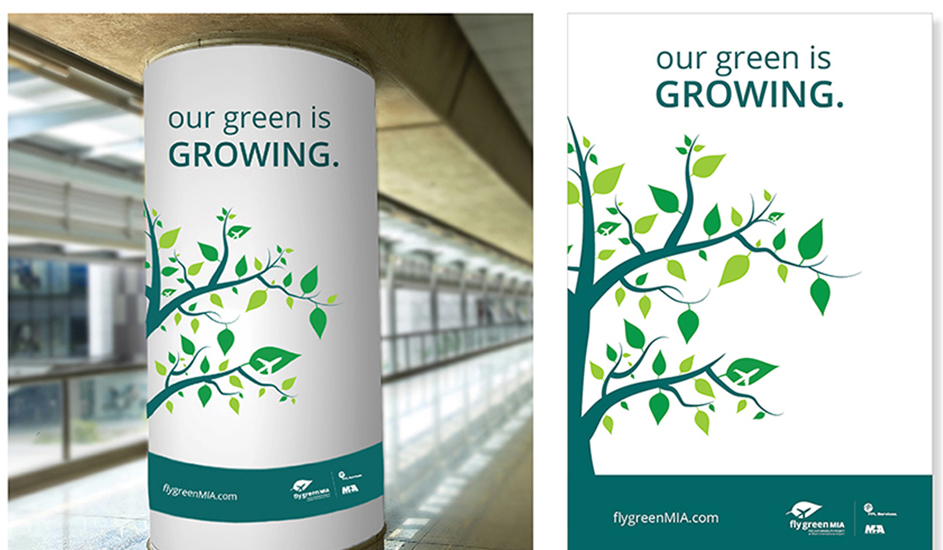 flyGreenMIA airport column signage