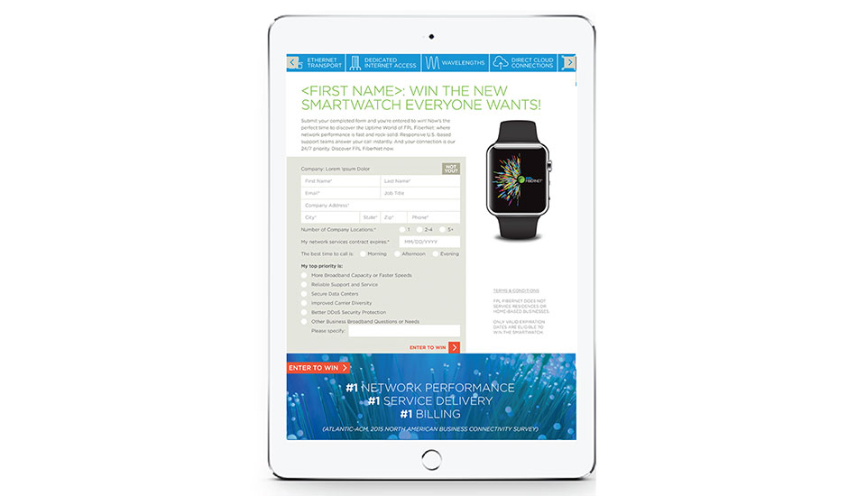 Landing Page in iPad