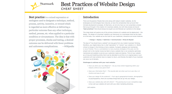 Best Practices of Web Design Cheat Sheet | Starmark | Integrated
