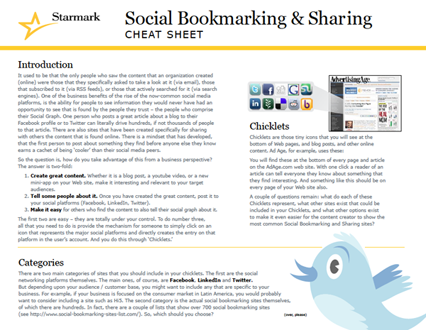 Social Bookmarking & Sharing Cheat Sheet