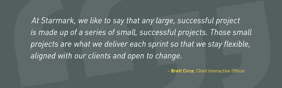 'At Starmark, we like to say that any large, successful project is made up of a series of small, successful projects. Those small projects are what we deliver each sprint so that we stay flexible, aligned with our clients and open to change.' - Brett Circe, Chief Interactive Officer