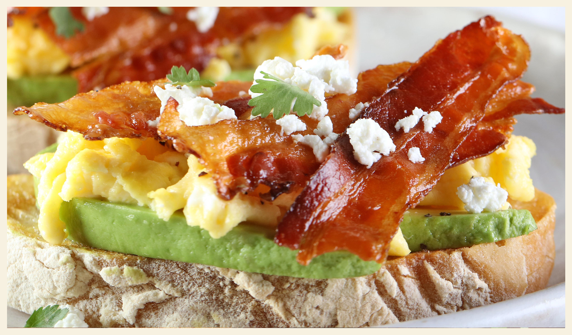 Avocado Toast with Bacon, Scrambled Eggs and Goat Cheese
