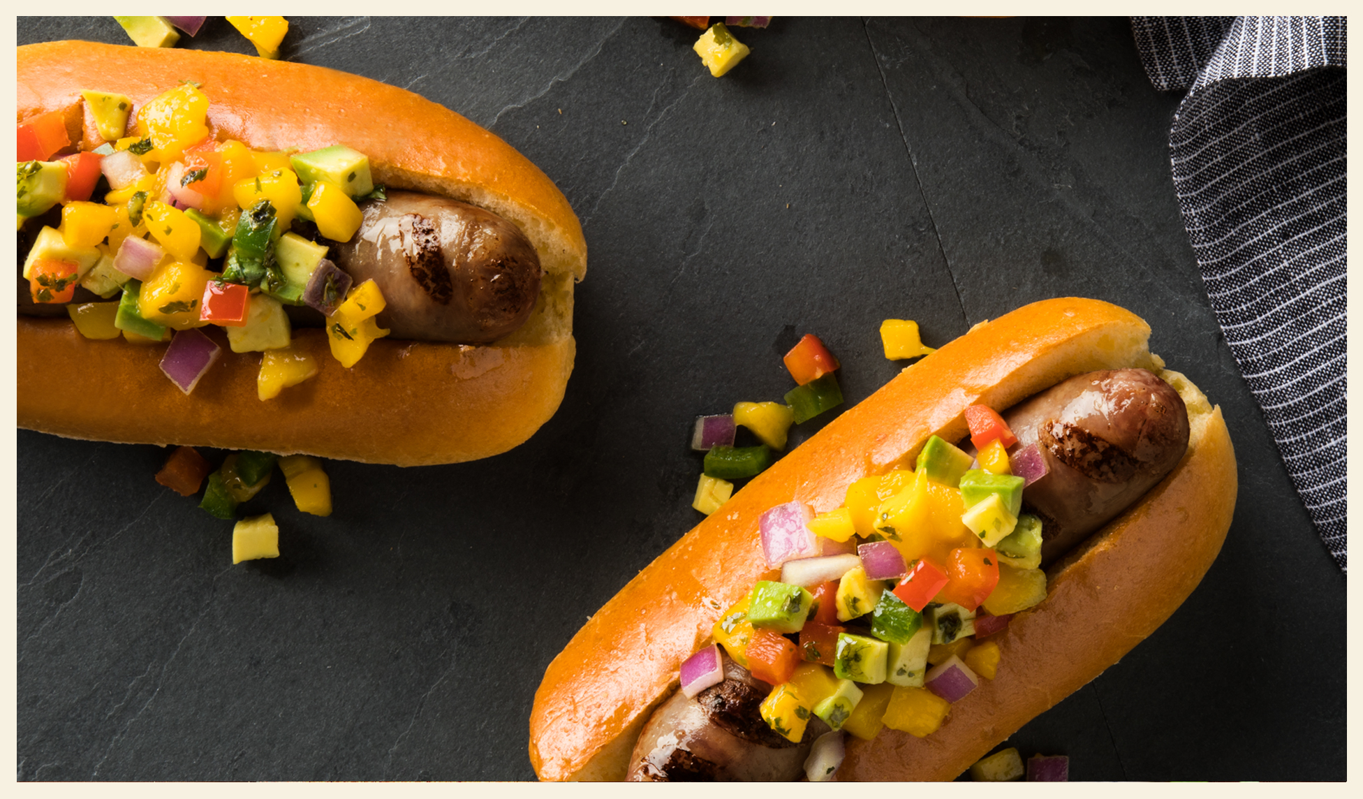 Grilled Beer Brats with Mango Salsa