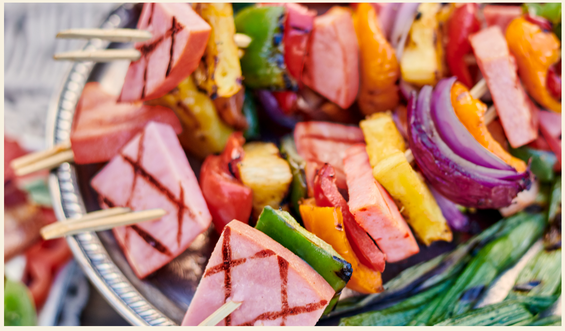 Hawaiian Ham Skewers on the Grill