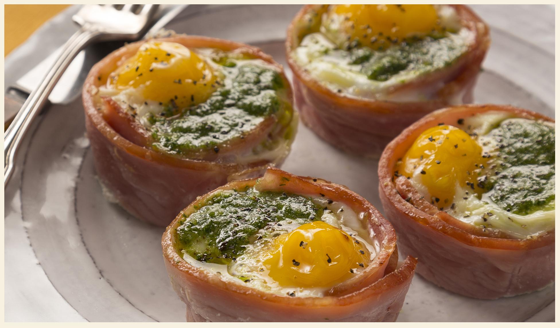 Pesto Egg Ham Cups