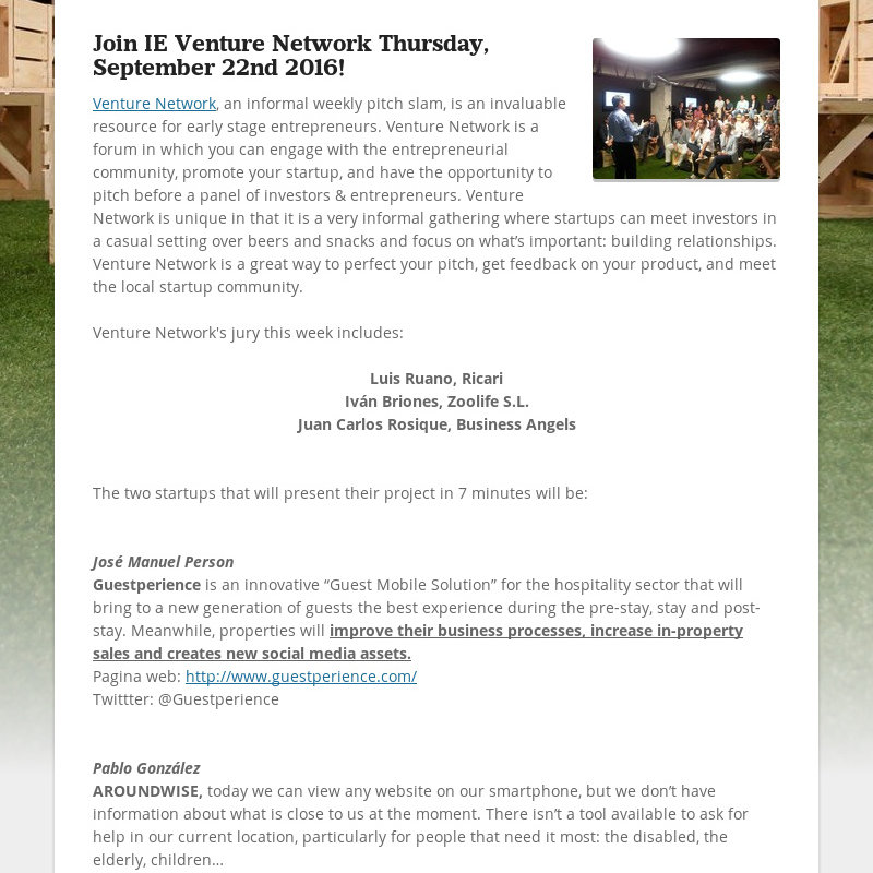 Join IE Venture Network Thursday, September 22nd 2016!Venture Network, an informal weekly pitch...
