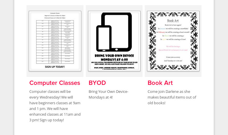 Computer Classes Computer classes will be every Wednesday! We will have beginners classes at 9am and...