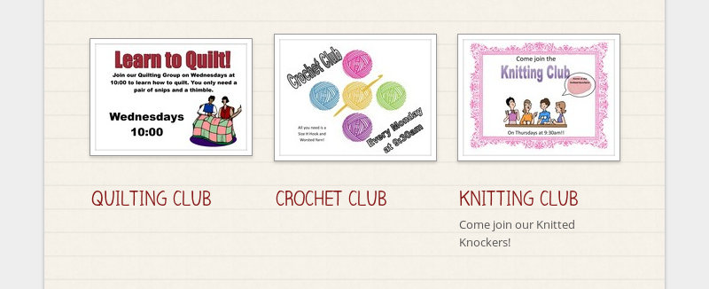 QUILTING CLUB CROCHET CLUB KNITTING CLUB Come join our Knitted Knockers!