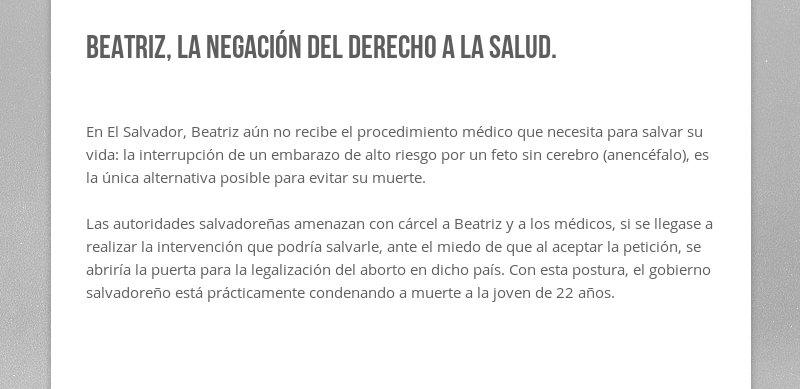 Beatriz, la negación del derecho a la salud.  En El Salvador, Beatriz aún no recibe el procedimiento...