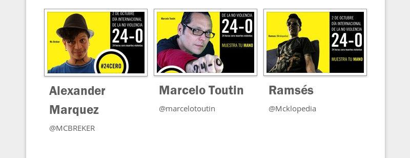 Alexander Marquez  @MCBREKER  Marcelo Toutin  @marcelotoutin  Ramsés  @Mcklopedia