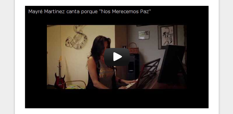 """Mayré Martinez canta porque """"Nos Merecemos Paz"""""""