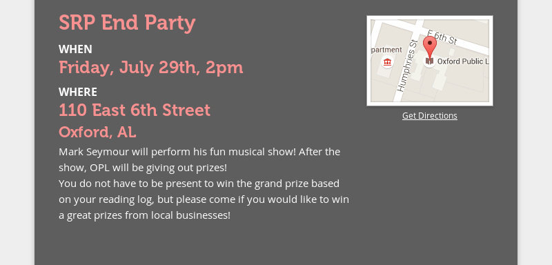 SRP End Party WHEN Friday, July 29th, 2pm WHERE 110 East 6th Street Oxford, AL Mark Seymour will...