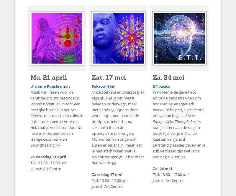 Ma. 21 april Ultieme Paasbrunch Maak van Pasen voor de verandering iets bijzonders! Janosh nodigt je...