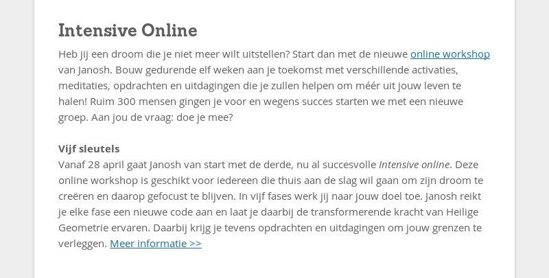 Intensive Online Heb jij een droom die je niet meer wilt uitstellen? Start dan met de nieuwe online...