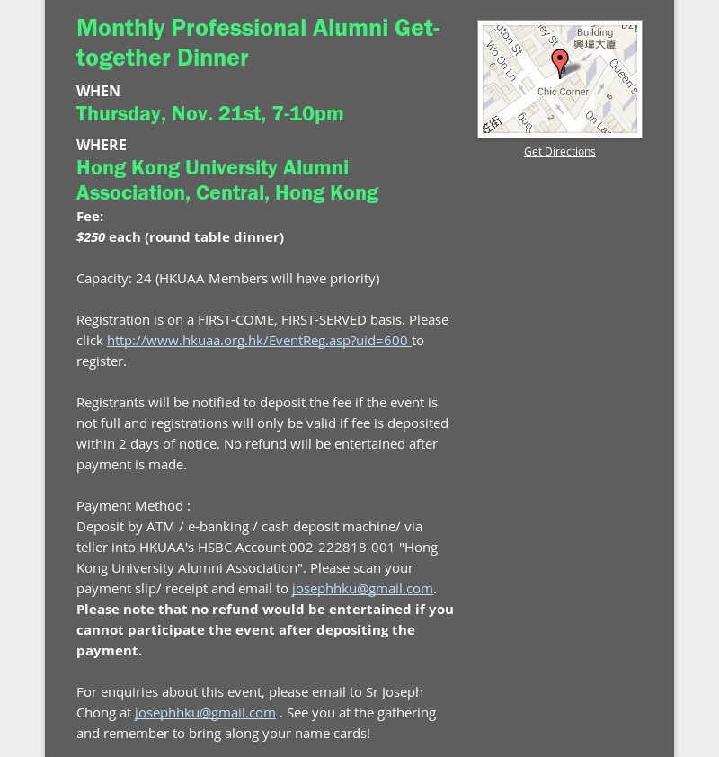 Monthly Professional Alumni Get-together Dinner