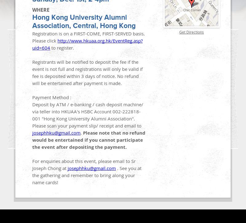 WHEN Sunday, Dec. 1st, 2-4pm WHERE Hong Kong University Alumni Association, Central, Hong Kong...