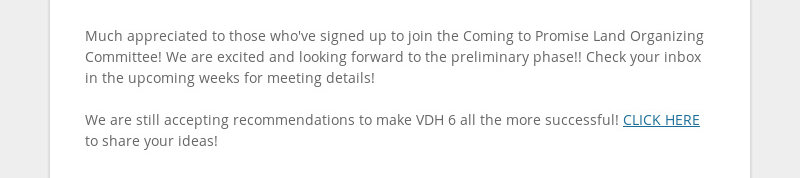 Much appreciated to those who've signed up to join the Coming to Promise Land Organizing Committee!...