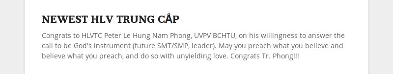NEWEST HLV TRUNG CẤPCongrats to HLVTC Peter Le Hung Nam Phong, UVPV BCHTU, on his willingness to...
